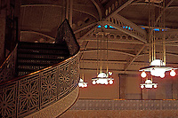 F.L. Wright: Rookery Bldg. Lobby. Upper Stairs, Ceiling.  Photo '76.