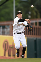 Bradenton Marauders third baseman Walker Gourley (5) throws to first during a game against the Palm Beach Cardinals on April 8, 2014 at McKechnie Field in Bradenton, Florida.  Bradenton defeated Palm Beach 4-3.  (Mike Janes/Four Seam Images)