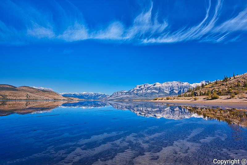 Jasper Lake (Athabasca River) and Roche Miette<br />Jasper National Park<br />Alberta<br />Canada