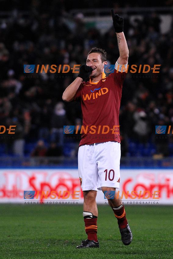 Esultanza di Francesco Totti dopo il gol 2-1.Goal celebration Roma.Roma 8/12/2012 Stadio Olimpico.Football Calcio 2012/2013 Serie A.Roma Vs Fiorentina.Foto Andrea Staccioli Insidefoto