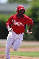 GCL Phillies outfielder Everett Williams (17) running the bases during a game against the GCL Pirates on June 26, 2014 at the Carpenter Complex in Clearwater, Florida.  GCL Phillies defeated the GCL Pirates 6-2.  (Mike Janes/Four Seam Images)