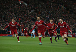 Mohamed Salah of Liverpool (c) celebrates scoring the first goal during the Champions League Quarter Final 1st Leg, match at Anfield Stadium, Liverpool. Picture date: 4th April 2018. Picture credit should read: Simon Bellis/Sportimage