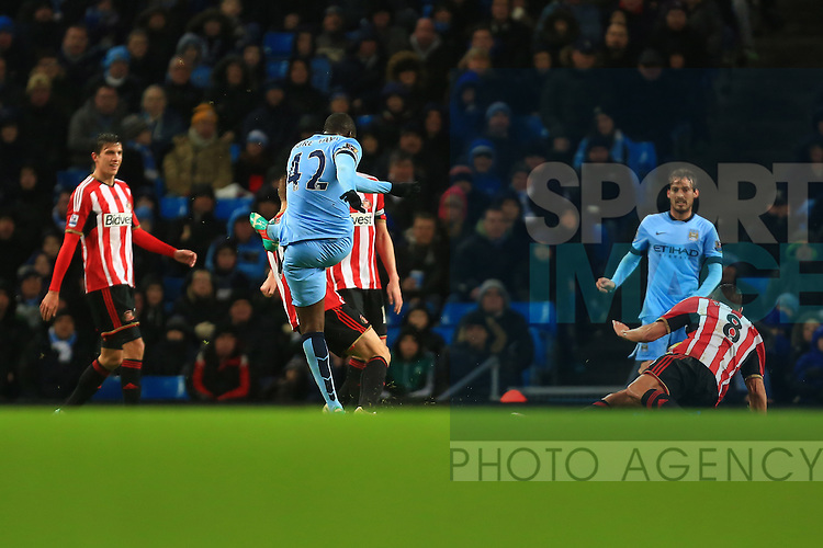 Yaya Toure of Manchester City scores the opening goal - Manchester City vs. Sunderland - Barclay's Premier League - Etihad Stadium - Manchester - 28/12/2014 Pic Philip Oldham/Sportimage
