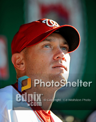 10 July 2008: Washington Nationals' pitcher Charlie Manning looks out from the dugout during a game against the Arizona Diamondbacks at Nationals Park in Washington, DC. The Diamondbacks defeated the Nationals 7-5 in 11 innings to take the rubber match of their 3-game series in the Nation's Capitol...Mandatory Photo Credit: Ed Wolfstein Photo