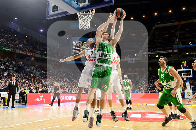 Real Madrid's player Anthony Randolph and Andres Nocioni and Unics Kazan's player Artsiom Parakhouski and Marko Basic during match of Turkish Airlines Euroleague at Barclaycard Center in Madrid. November 24, Spain. 2016. (ALTERPHOTOS/BorjaB.Hojas)