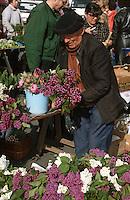 Europe/France/Pays de la Loire/49/Maine-et-Loire/Angers: Agriculteur vendant des fleurs sur le marché [Non destiné à un usage publicitaire - Not intended for an advertising use]<br /> PHOTO D'ARCHIVES // ARCHIVAL IMAGES<br /> FRANCE 1990