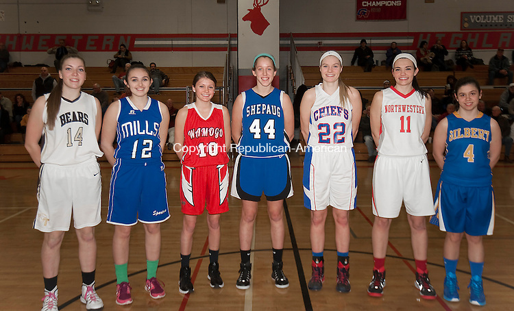 WINSTED,  CT-022415JS15- Members of the All-Berkshire League team, from left, Morgan Sanson-Thomaston; Natalie Ruel-Lewis Mills; Brooke Neller-Wamogo; Caroline Kelly-Shepaug; Courtney Carlson-Nonnewaug;  Emma Beltrandi-Northwestern (Recipient of the Edward Kolakoski Award) and Elizabeth Wexler-Gilbert. <br />  Jim Shannon Republican-American