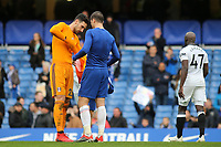 Alvaro Morata of Chelsea swaps shirts with Fulham goalkeeper, Sergio Rico at the final whistle during Chelsea vs Fulham, Premier League Football at Stamford Bridge on 2nd December 2018