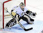 6 February 2010: Pittsburgh Penguins' goaltender Brent Johnson in action against the Montreal Canadiens at the Bell Centre in Montreal, Quebec, Canada. The Canadiens defeated the Penguins 5-3. Mandatory Credit: Ed Wolfstein Photo