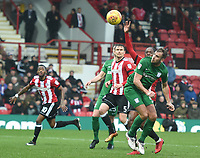 Preston's Tommy Spurr heads in to the goal but is disallowed<br /> <br /> Photographer Jonathan Hobley/CameraSport<br /> <br /> The EFL Sky Bet Championship - Brentford v Preston North End - Saturday 10th February 2018 - Griffin Park - Brentford<br /> <br /> World Copyright &copy; 2018 CameraSport. All rights reserved. 43 Linden Ave. Countesthorpe. Leicester. England. LE8 5PG - Tel: +44 (0) 116 277 4147 - admin@camerasport.com - www.camerasport.com