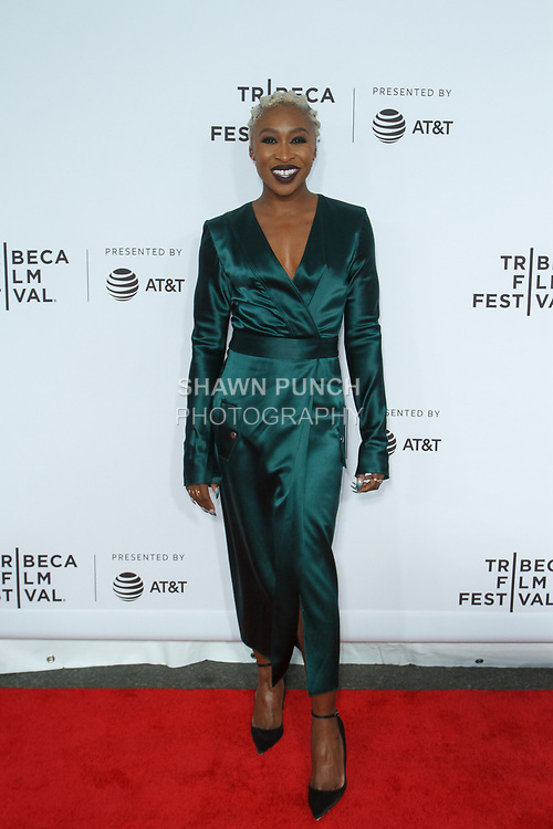 """Cynthia Erivo arrives at the Clive Davis: """"The Soundtrack Of Our Lives"""" world premiere for the Opening Night of the 2017 TriBeCa Film Festival on April 19, 2017 at Radio City Music Hall."""