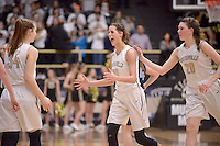 NWA Democrat-Gazette/BEN GOFF @NWABENGOFF<br /> Krista Clark (from left), Madison Brittain and Maren Johnston of Bentonville celebrate after defeating Springdale Har-Ber on Friday Jan. 15, 2016 during the game in Bentonville's Tiger Arena.