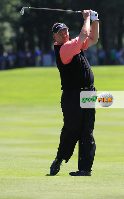 Darren Clarke playing his second shot on the 16th tee during the first round of the 3 Irish Open, at the Killarney Golf and Fishing Club, Killarney, Ireland.Picture Fran Caffrey/www.golffile.ie.
