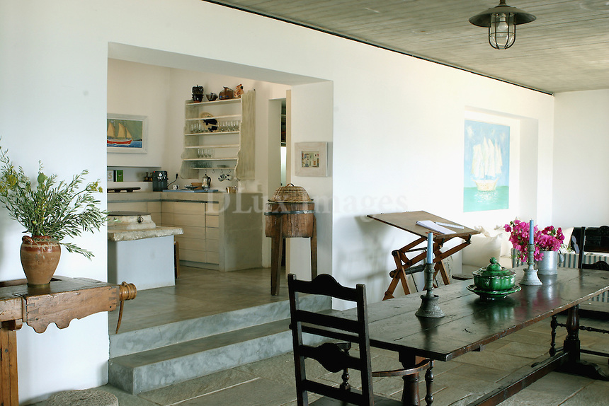 ZOUBOULAKIS..On the island of Hydra, in the village of Vlykos,  architect and son of famous art dealer Peggy Zouboulaki ,Thodoris Zouboulakis has designed his country house near the sea, combining the traditional style of the island with modern elements of architecture...
