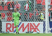 Toronto FC goalkeeper Stefan Frei #24 gets vocal with his players after Philadelphia scores during an MLS game between the Philadelphia Union and the Toronto FC at BMO Field in Toronto on May 28, 2011..The Philadelphia Union won 6-2..