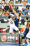 Spain's basketball player Willy Hernangomez and Angola's basketball player Islando Manuel during the first match of the preparation for the Rio Olympic Game at Coliseum Burgos. July 12, 2016. (ALTERPHOTOS/BorjaB.Hojas)