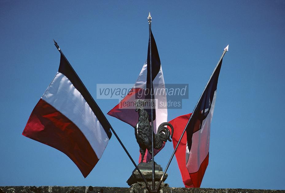Europe/France/Auvergne/15/Cantal/Salers: détail du coq et des drapeaux du monument au mort