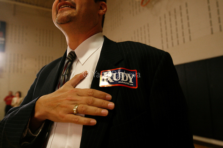 Republican Presidential hopeful Rudy Giuliani (R-NY) campaigns at the Woodrow Wilson Junior High School gymnasium in Council Bluffs, IA, on July 18, 2007. While he met a sizable group of supporters, some opposition presented itself as well..