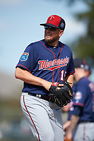 Minnesota Twins pitcher Glen Perkins (15) during a Spring Training practice on March 1, 2016 at Hammond Stadium in Fort Myers, Florida.  (Mike Janes/Four Seam Images)