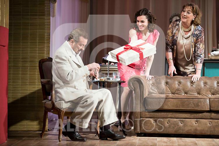 """Juan Diego, Begoña Maestre and Ana Marzoa during theater play of """"Una gata sobre un tejado de Cinc caliente"""" at Reina Victoria theater in Madrid, Spain. March 15, 2017. (ALTERPHOTOS/BorjaB.Hojas)"""