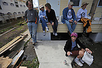 "(L-r, clockwise) Rabbi Steve Lowenstein, Gail Cutler, 63, Laurie Levin, 61, Norm Cutler, 66, Barbara Blinderman, 74, and Patti Vile, 65, seated, are ""voluntourists"" from the Am Shalom synagogue in Glencoe, Illinois at work on the  site of a nearly finished home rebuilt following the devastation of Hurricane Katrina in New Orleans, Louisiana on March 11, 2008.  The group of ""voluntourists"" from Glencoe, Illinois is traveling to New Orleans to combine traditional tourism with volunteer work in the aftermath of the devastation wrought by Hurrica Katrina in 2005."