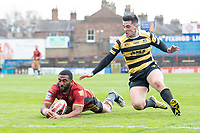 Picture by Allan McKenzie/SWpix.com - 22/04/2018 - Rugby League - Ladbrokes Challenge Cup - York City Knight v Catalans Dragons - Bootham Crescent, York, England - Samisoni Langi rescues the ball before Ash Robson can score.