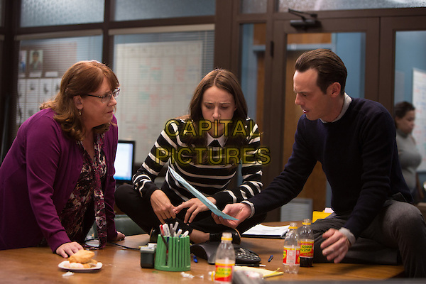 ANN DOWD as Nell, ZOE KAZAN as LeBlanc and SCOOT McNAIRY as Buckley in Warner Bros. Pictures and Participant Media's satirical comedy &quot;OUR BRAND IS CRISIS,&quot; a Warner Bros. Pictures release.<br /> *Filmstill - Editorial Use Only*<br /> CAP/KFS<br /> Image supplied by Capital Pictures