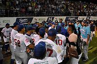 MONTERIA - COLOMBIA, 20-11-2019: Vaqueros de Montería y Leones de Santa Marta en el juego 3 de la serie 3 de la Liga Profesional de Béisbol Colombiano temporada 2019-2020 jugado en el estadio estadio Dieciocho de Junio de la ciudad de Montería. Victoria para Vaqueros por marcador de 2-13. / Vaqueros de Monteria and Leones de Santa Marta in match 3 series 3 as part Colombian Baseball Professional League season 2019-2020 played at Baseball Stadium on June 18 in Monteria city. Victory to Vaqueros by score of 2-13, Photo: VizzorImage / Andres Felipe Lopez / Cont