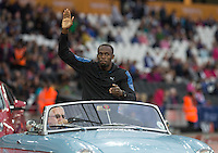 Usain BOLT of Jamaica (Men's 100m) travels a lap to start the event during the Sainsburys Anniversary Games Athletics Event at the Olympic Park, London, England on 24 July 2015. Photo by Andy Rowland.