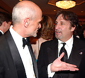 United States Secretary of Homeland Security Michael Chertoff, left, shares some thoughts with actor Ron Silver, right, at a reception prior to the 2005 White House Correspondents Dinner at the Washington Hilton Hotel in Washington, D.C. on April 30, 2005..Credit: Ron Sachs / CNP.(RESTRICTION: No New York Metro or other Newspapers within a 75 mile radius of New York City)