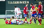 S&ouml;dert&auml;lje 2014-11-09 Fotboll Kval till Superettan Assyriska FF - &Ouml;rgryte IS :  <br /> Assyriskas Sotiris Papagiannopoulus i br&aring;k med &Ouml;rgrytes Carl Hawunger i samband med sin utvisning i den andra halvleken av matchen mellan Assyriska FF och &Ouml;rgryte IS <br /> (Foto: Kenta J&ouml;nsson) Nyckelord:  S&ouml;dert&auml;lje Fotbollsarena Kval Superettan Assyriska AFF &Ouml;rgryte &Ouml;IS slagsm&aring;l br&aring;k fight fajt gruff