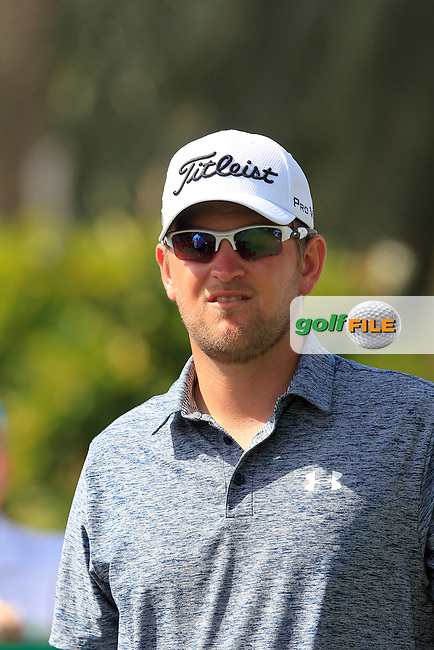 Bernd WIESBERGER (AUT) on the 1st tee during Sunday's Final Round of the 2015 Omega Dubai Desert Classic held at the Emirates Golf Club, Dubai, UAE.: Picture Fran Caffrey, www.golffile.ie: 2/1/2015