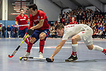 Mannheim, Germany, January 08: During the 1. Bundesliga men indoor hockey match between TSV Mannheim and Mannheimer HC on January 8, 2020 at Primus-Valor Arena in Mannheim, Germany. Final score 5-4. (Photo by Dirk Markgraf / www.265-images.com) *** Patrick Harris #17 of Mannheimer HC, Moritz Moeker #6 of TSV Mannheim