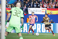 Atletico de Madrid´s Juanfran (C) and Milan´s Urby Emanuelson (R) and goalkeeper Christian Abbiati during 16th Champions League soccer match at Vicente Calderon stadium in Madrid, Spain. March 11, 2014. (ALTERPHOTOS/Victor Blanco)