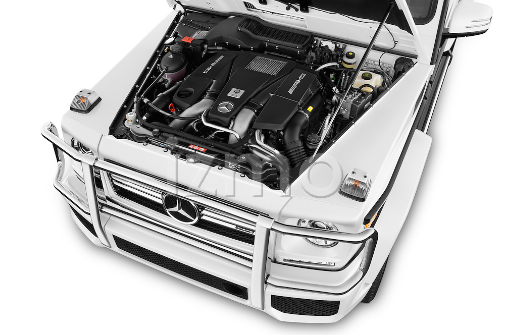 Car Stock 2018 Mercedes Benz G-Class AMG-G63 5 Door SUV Engine  high angle detail view