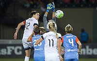 Portland, OR - Wednesday Sept. 07, 2016: Christine Sinclair, Lydia Williams during a regular season National Women's Soccer League (NWSL) match between the Portland Thorns FC and the Houston Dash at Providence Park.
