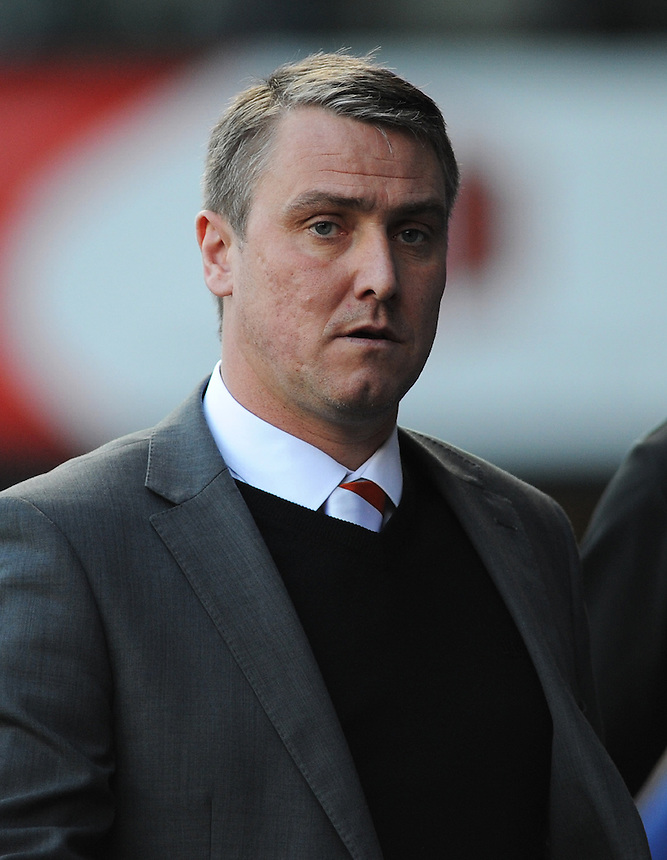 Blackpool Manager Lee Clark before kick-off<br /> <br /> Photographer Kevin Barnes/CameraSport<br /> <br /> Football - The Football League Sky Bet Championship - Ipswich Town v  Blackpool - Saturday 11th April 2015 - Portman Road - Ipswich<br /> <br /> &copy; CameraSport - 43 Linden Ave. Countesthorpe. Leicester. England. LE8 5PG - Tel: +44 (0) 116 277 4147 - admin@camerasport.com - www.camerasport.com