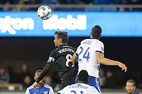 San Jose, CA - Friday April 14, 2017: Chris Wondolowski, Matt Hedges  during a Major League Soccer (MLS) match between the San Jose Earthquakes and FC Dallas at Avaya Stadium.