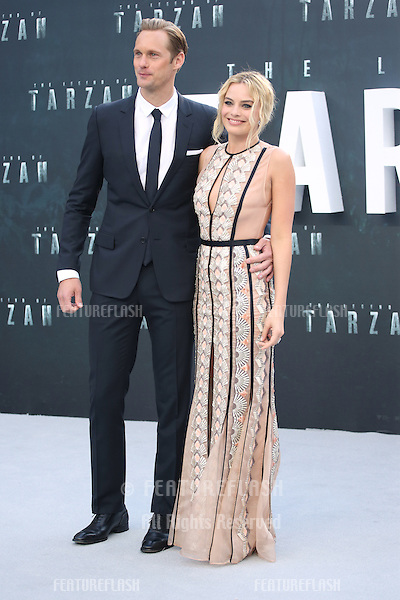 Alexander Skarsgard &amp; Margot Robbie at the European premiere of 'The Legend Of Tarzan' at Odeon Leicester Square, London. <br /> July 5, 2016  London, UK<br /> Picture: James Smith / Featureflash