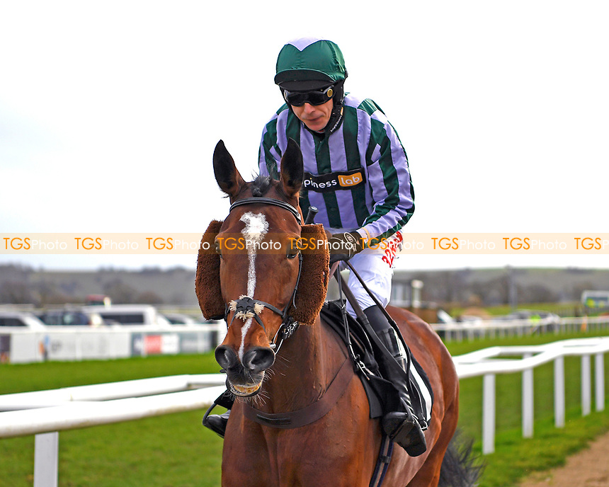 Breaking Waves ridden by Paddy Brennan and trained by Noel Williams goes down to the start of The SW Catering Chase during Horse Racing at Plumpton Racecourse on 10th February 2020