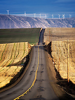 Backroad and wind turbines in Sherman County near the Columbia River Gorge, Oregon