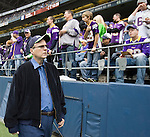 Seattle Seahawks team owner Paul Allen walks the sidelines as the team warms up before their game with the Minnesota Vikings at CenturyLink Field in Seattle, Washington on November 4, 2012.    ©2012. Jim Bryant Photo. All Rights Reserved.