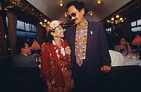 Venice Simplon-Orient-Express. Japanese honeymooners dressed for dinner in Roaring-Twenties-style.