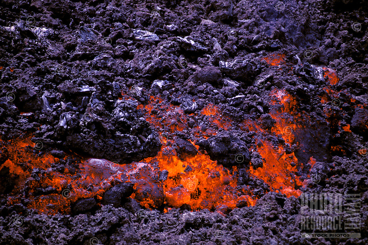 Aa lava flow from Kilauea, the worlds most active  volcano