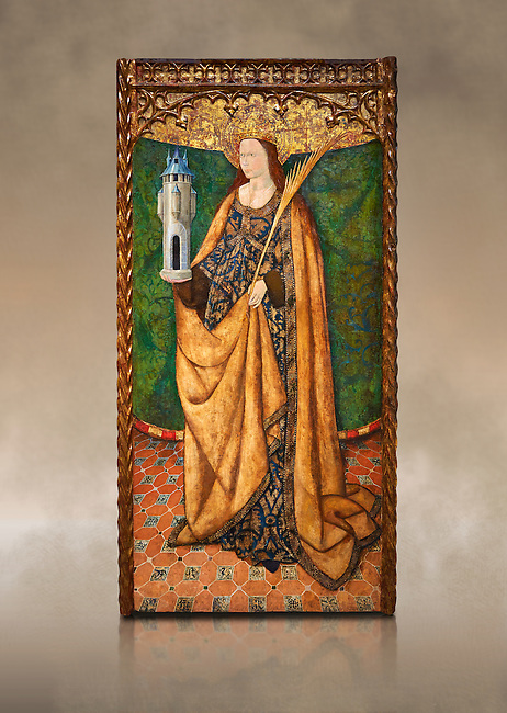 Gothic Aaltarpiece of Saint Barbara, 3rd quarter of the 15th century, tempera and gold leaf on for wood.  National Museum of Catalan Art, Barcelona, Spain, inv no: MNAC   114746-7. Against a art background.
