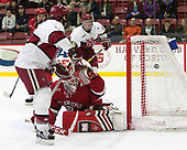 Alexander Kerfoot (Harvard - 14), Kyle Hayton (SLU - 27), Adam Fox (Harvard - 18) - The Harvard University Crimson defeated the St. Lawrence University Saints 6-3 (EN) to clinch the ECAC playoffs first seed and a share in the regular season championship on senior night, Saturday, February 25, 2017, at Bright-Landry Hockey Center in Boston, Massachusetts.