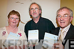 KNIBS: At the launch of the new book from the Knibs Writers Group in Killorglin on Thursday night were l-r: contributors Mary Foley-Taylor and Mick Jones, with Declan Mangan, who launched the book, 'Echoes from the Reeks'.   Copyright Kerry's Eye 2008