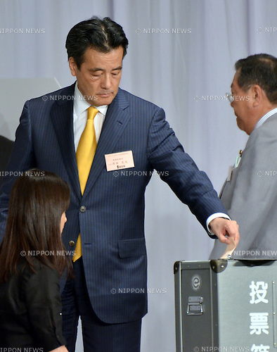 August 29, 2011, Tokyo, Japan - Katsuya Okada, secretary-general of the Democratic Party of Japan, casts his ballot in the run-off vote to elect a DPJ new leader at a Tokyo hotel on Monday, August 29, 2011. ....Japans Finance Minister Yoshihiko Noda was elected president of the ruling party by beating Economy Minister Banri Kaieda in 215-177 second-round vote. Noda will be appointed as the country's 62nd prime minister - sixth in five years - at a Lower House plenary session in the Diet on Tuesday, August 30, 2011. (Photo by Natsuki Sakai/AFLO) [3615] -mis-