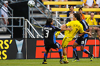 27 MAY 2009: #3 Nick Garcia of the San Jose Earthquakes and #7 Guillermo Barros Schelotto, Columbus Crew forward in action during the San Jose Earthquakes at Columbus Crew MLS game in Columbus, Ohio on May 27, 2009. The Columbus Crew defeated San Jose 2-1