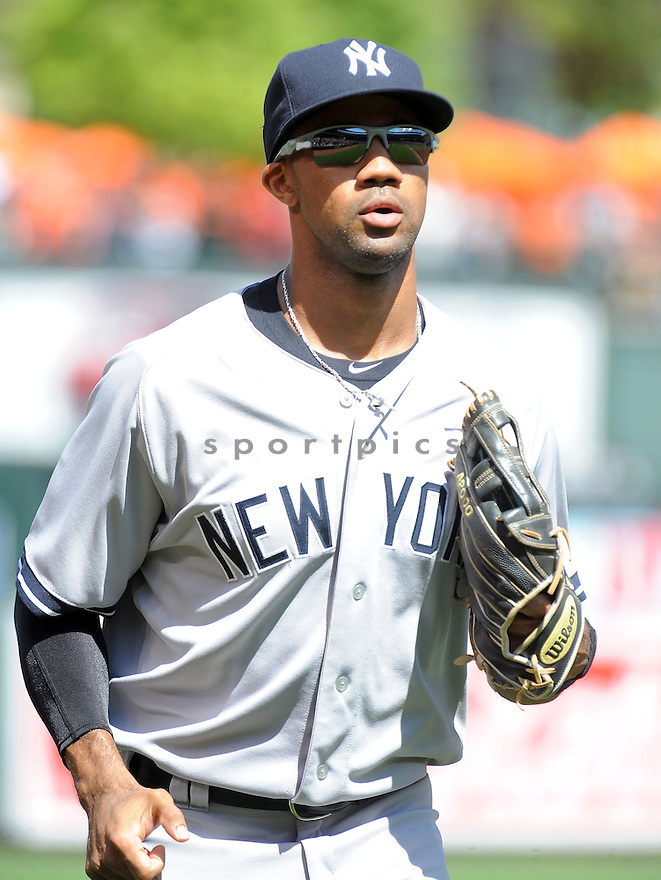 New York Yankees Chris Young (24) during a game against the Baltimore Orioles on September 12, 2014 at Orioles Park in Baltimore, MD. The Orioles beat the Yankees 2-1.